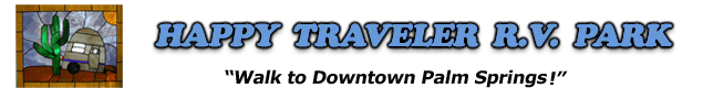 walk to downtown Palm Springs from Happy Traveler RV Park